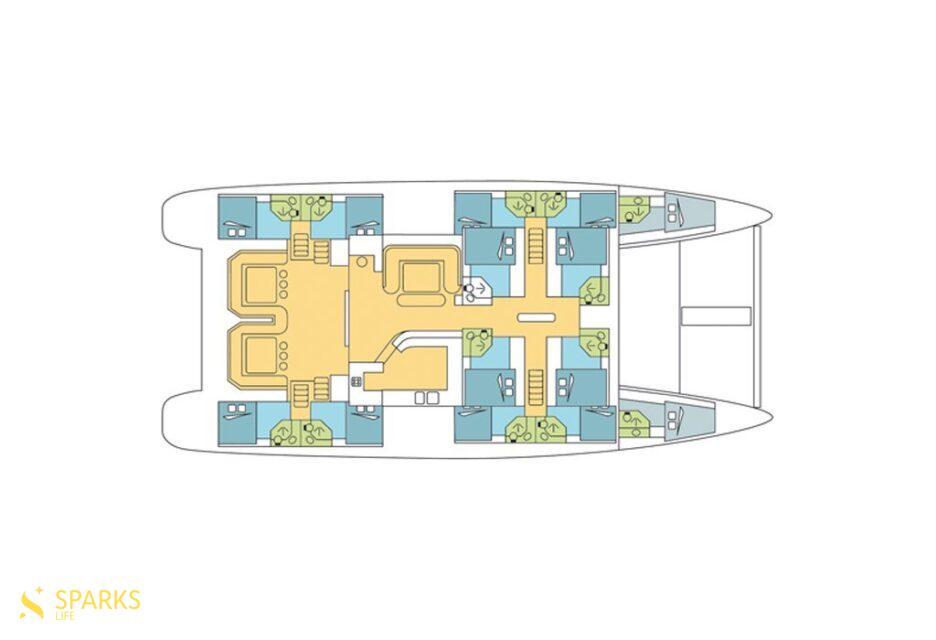 Rent a cabin on the catamaran Mojito 82